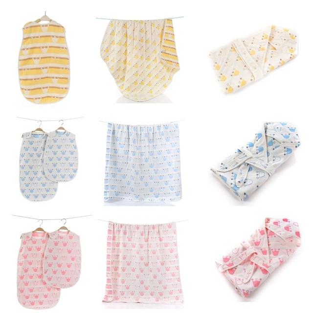 4 pieces set 6 layers Muslin Cotton Baby Blanket Hooed Infant Towel Summer Sleeping bag for Newborn Baby Children in crib car