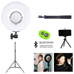 8 Inch 24W5600K Dimmable Photo Studio selfie light Photography Makeup Ring Light Phone Video Live Light Lamp for light stand