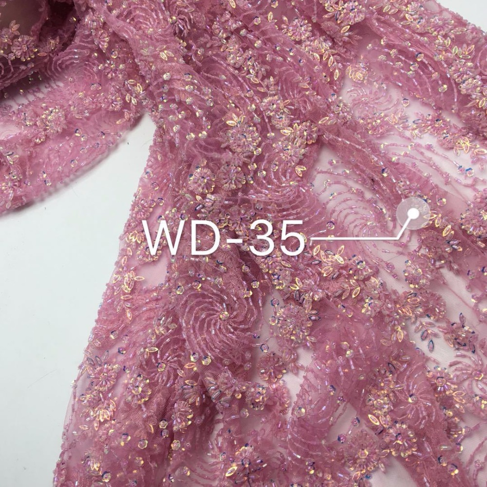 5yards New fashionable heavy beaded African French Lace Fabric with 3D flowers on Tulle embroidery bridal dress Lace Fabric