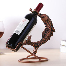 Nordic Creative Wine Rack Iron Wine Holder Decoration 3D Fish Stand for Wine Bottles Stainless Steel Wine Rack wijnglas houder fashion quality rose household wine rack baijiu home decoration iron wine holder