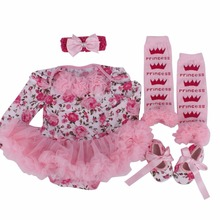 2017 Baby Girl Dress 4pcs/set Outfit Jumpersuits Clothing Rose Lace Dress + Shoes+socks+hairband Newborn Clothes