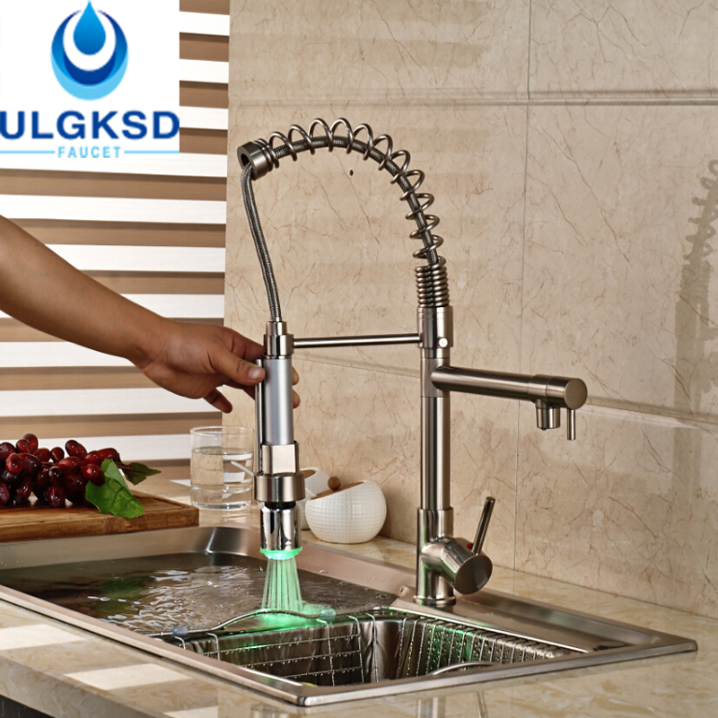 Ulgksd Brushed Kitchen Faucet Sprayer With LED Color Deck Mount HandHeld Pull Out Faucet Flexible Hose