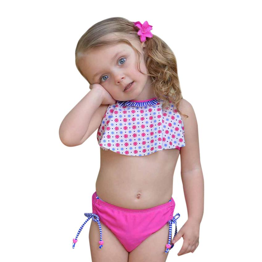 Baby Girls Swimwear Fresh Print Floral Halter Bikini OnePieces Girl Swimsuit for Summer Beach Cusual Party 18May14