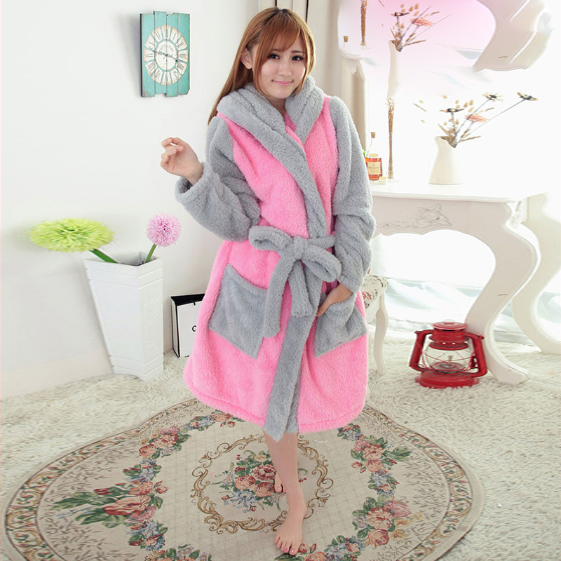 On Sale New Sexy Winter Warm Adult Sleepwear Casual Coral Fleece Pink Rabbit Cut Pyjamas ...