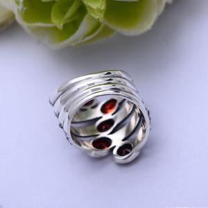 Image 3 - GQTORCH Natürliche Edelstein Breite Ringe Für Frauen Rot Granat Stein Echt Reine 925 Sterling Silber Schmuck Markasit Multi Schicht Ring