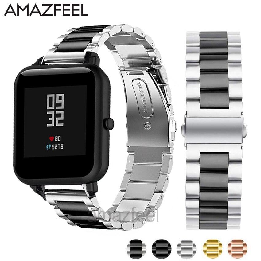 Pulseira de relógio de metal 20mm 22mm para xiaomi amazfit bip banda amazfit stratos ritmo pulseira aço inoxidável acessórios correia