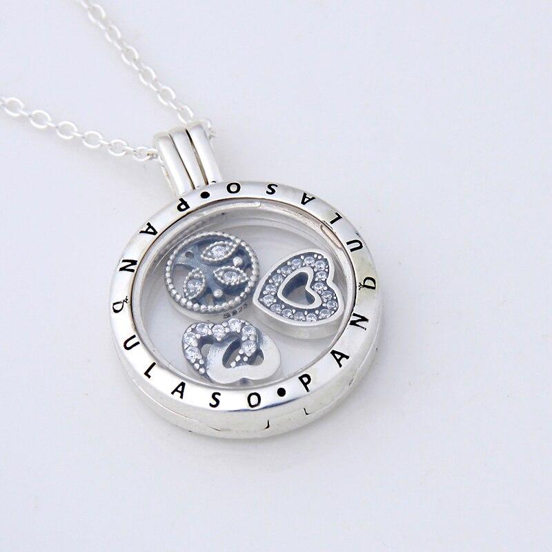 Pandulaso Love Family Petites médaillon flottant collier et pendentif pour femmes collier à faire soi-même 925 chaîne de bijoux en argent sterling