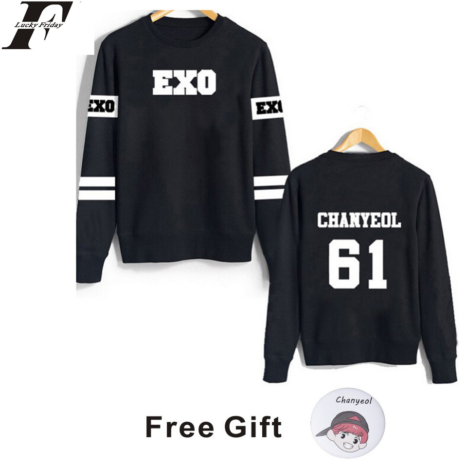 LUCKYFRIDAYF kpop exo kar sehun xiumin baekhyun terra sticker sweatshirt women sweatshirt women exo hoodies harajuku exo