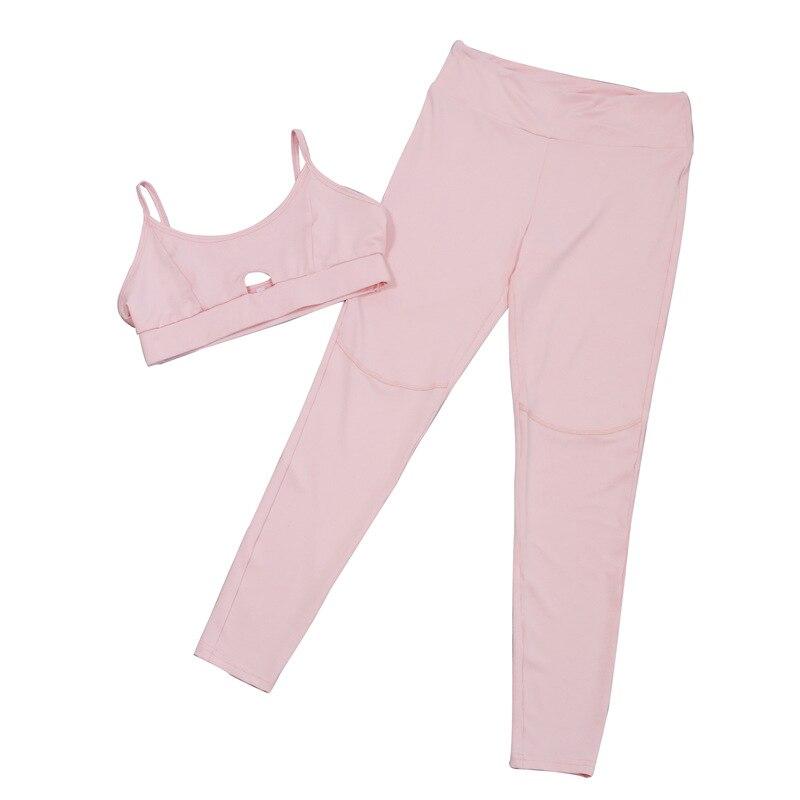 182590a46985b 2017 herbst neue Rosa baumwolle hohle cut out Sports Bh Yoga anzug  turnhalle mallas hombre laufschuhe broek lange fitness frauen sport anzüge