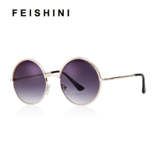 FEISHINI Spiral Chain Metal Brand Design Round Men Sunglasses Unisex Mirror 2019 Fashion Trendy Women Sunglass Gradient Gold trendy women s clutch bag with metal and gradient color design