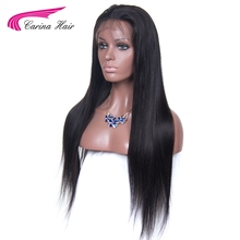 Carina Brazilian Remy Hair Straight Full Lace Human Hair Wigs 150% Density Pre-Plucked Natural Hairline Natural Color Free Part