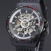 WINNER Men's Wrist Watch Top Brand Luxury Men Military Sport Clock Automatic Mechanical Watches Male Steel Skeleton Clock 076