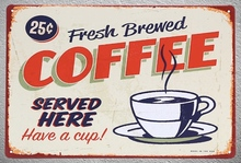 1 pc Brewed fresh coffee served here shop Tin Plate Sign plate wall plaques man cave Decoration Art Dropshipping Poster metal
