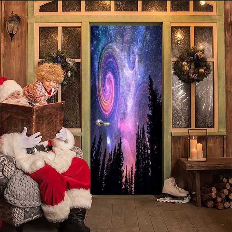 Starry Happy eid Door Sticker Christmas Decoration for Home 3D Door Paste Wooden Door Stickers Waterproof deursticker JUN19