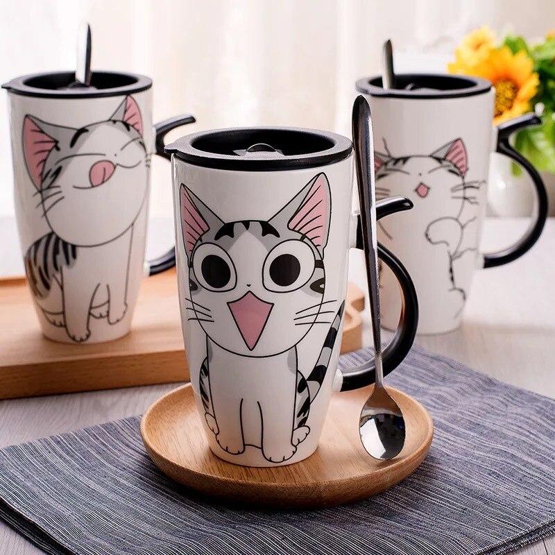 Drop shipping 600ml Creative Cat Ceramic Mug With Lid and Spoon Cartoon Milk Coffee Tea Cup