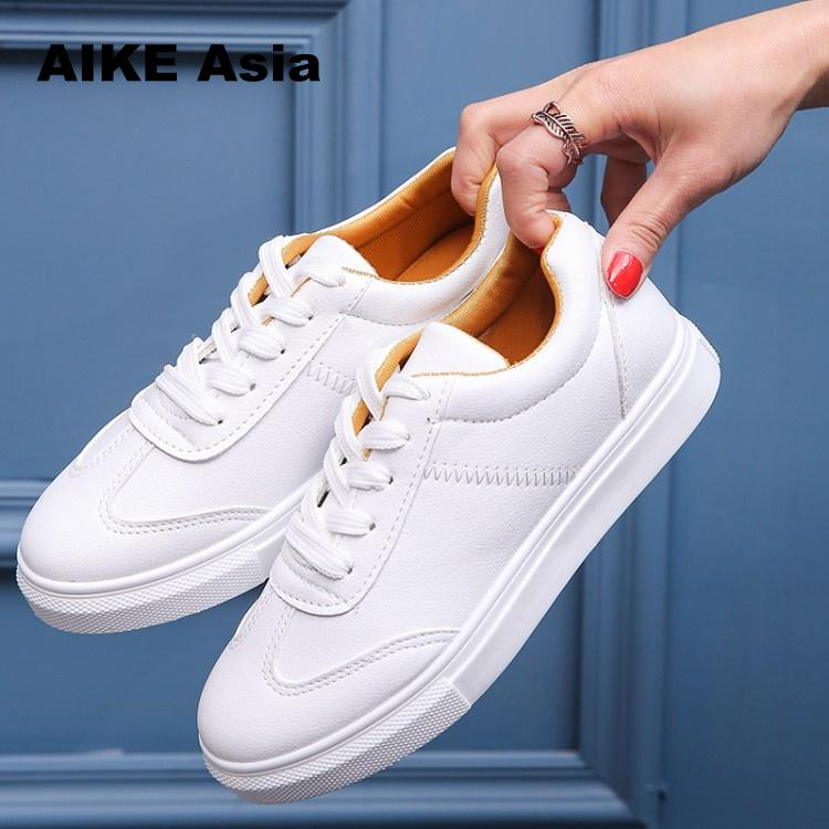 Spring And Summer New White Shoes Women Fashion Flat Leather Canvas Female Board Lace-up Zapatillas Mujer Casual Women Sneakers 2018 new canvas shoes spring summer women shoes genuine leather canvas shoes female round toe flat shoes lace up female canvas s