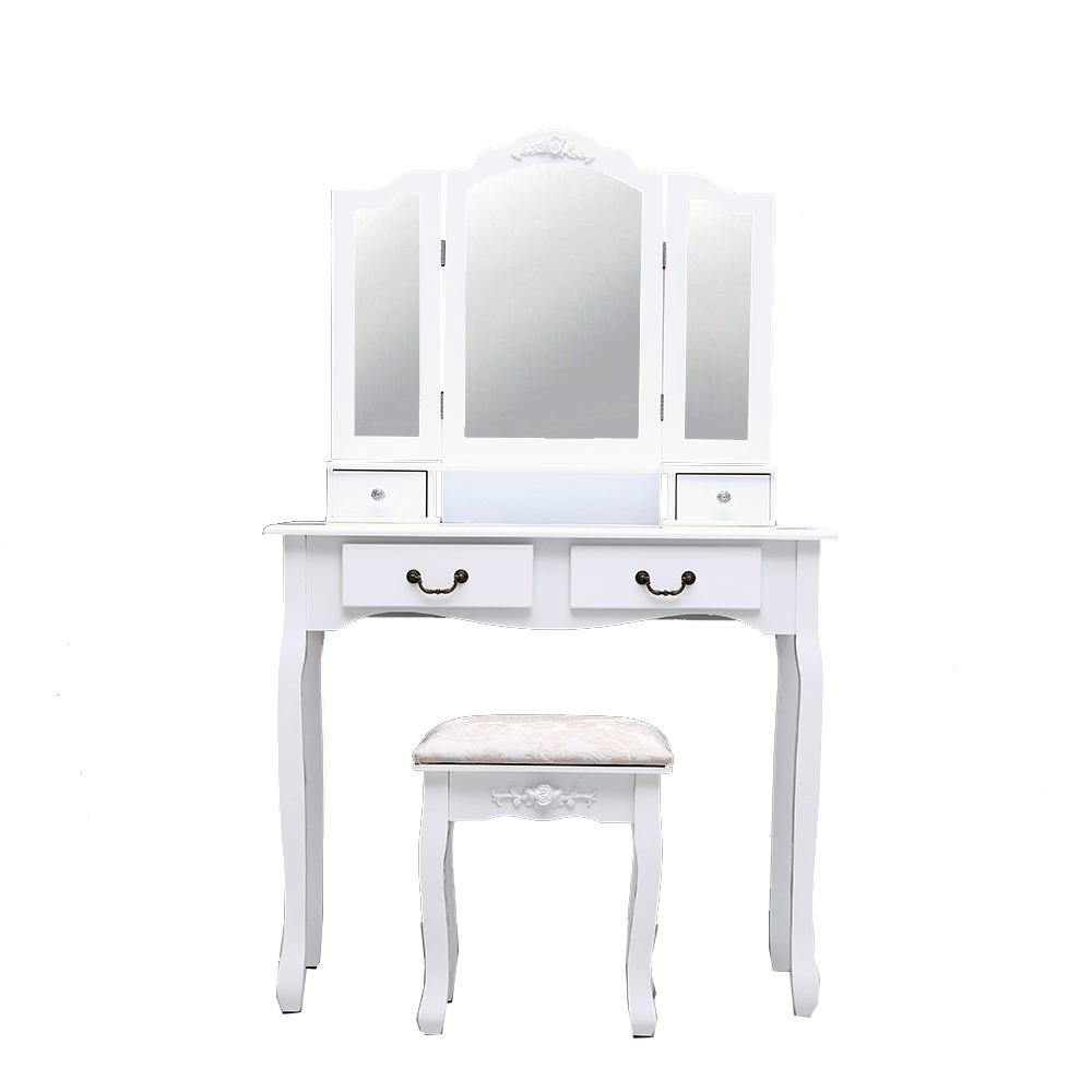 Bedroom Makeup Table Tri-fold Mirror Dressing Table 4-Drawer Dresser With Dressing Stool White SKU11074707Bedroom Makeup Table Tri-fold Mirror Dressing Table 4-Drawer Dresser With Dressing Stool White SKU11074707