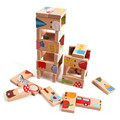 28 Unids juguete Animales Dominó Bloques De Madera Bloques de Anime Juguete Educativo Montessori Bebé Niños Aprendiendo juguete Domino Solitaire CU85