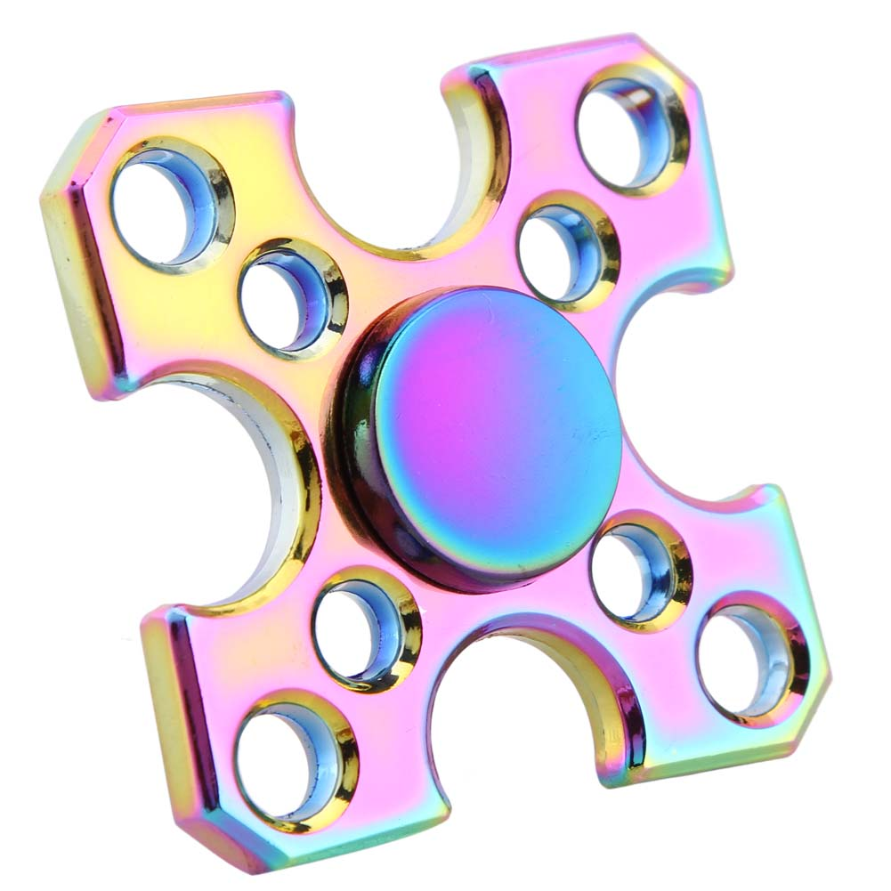 New Rainbow Fidget Spinner Metal Finger Spinner Hand Spinner Four corners For Autism Adult Anti Relieve