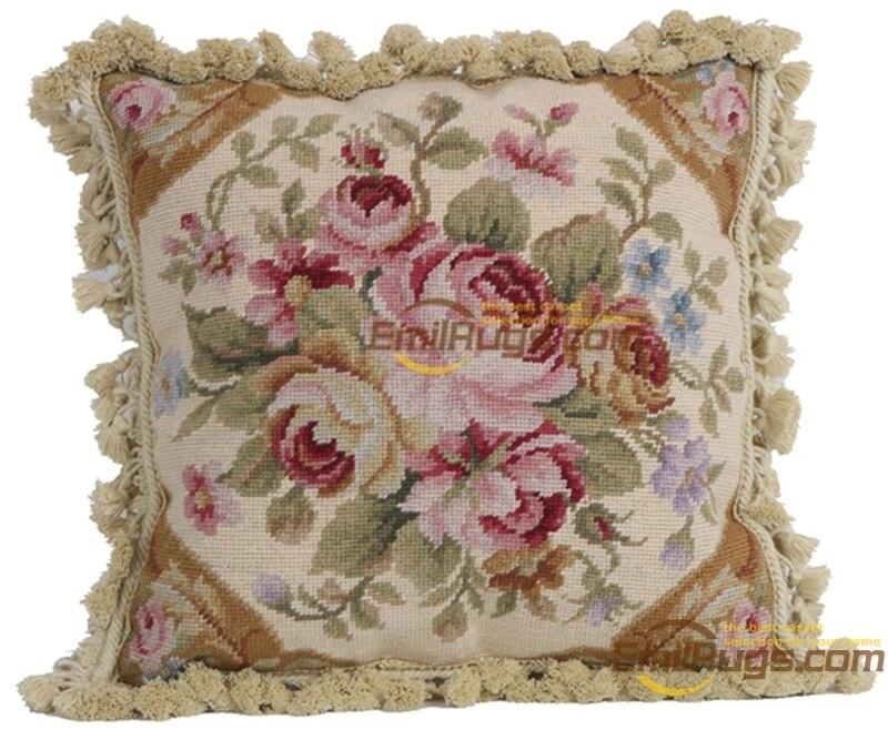 Needlepoint de lã decorativo sofá throw decoração interior almofada quadrada lã aubussion praça capa de almofada