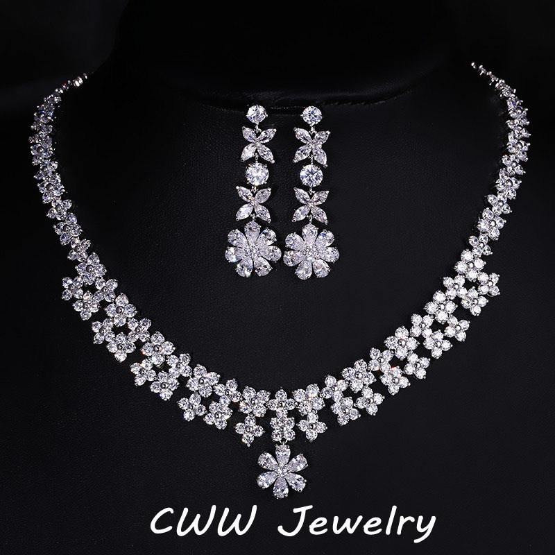 Elegant Flower Shape White Gold Color Cubic Zirconia Big Wedding Necklace And Earrings Set Crystal Bridal Jewelry T145 22 inch soft full silicone vinyl reborn baby doll lovely sleeping girl dolls for children kids toy birthday xmas new year gift