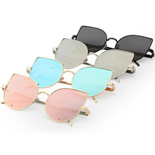 Pink vintage Mirror female Women Cat Eye Sunglasses New Brand Designer Fashion Metal Gafas de sol Reflective Summer Sun Glasses