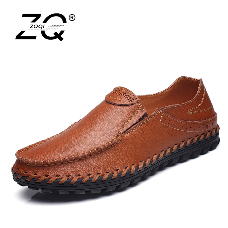 ZOQI Fashion Men Shoes Summer Cool Slip On Genuine Leather Shoes Men's Flats Shoes Low Mens casual Oxford Shoe for Men mens casual leather shoes hot sale spring autumn men fashion slip on genuine leather shoes man low top light flats sapatos hot