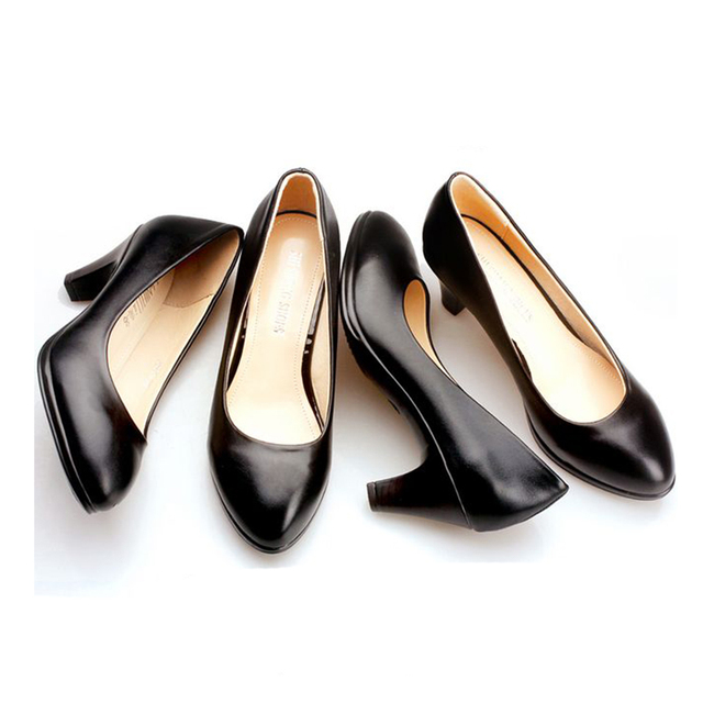 Professional dress women shoes black with ladies interview leather  comfortable work shoes rough heel shoes 564a6ce70