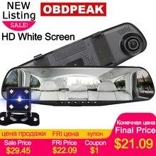 4,3 дюймов Автомобильный dvr камера Dash Cam FHD 1080P двойной объектив автомобиля Авто DVR зеркальный рекордер автомобиля зеркало заднего вида g-сенсор DVRs