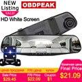 4,3 дюймов Автомобильный dvr камера Dash Cam FHD 1080P двойной объектив автомобиля Авто DVR зеркальный рекордер автомобиля зеркало заднего вида g-сенсор DVRs - фото