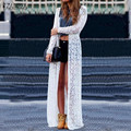 ZANZEA 2016 Women Fashion Lace Crochet Long Sleeve Blouses Beach Open Kimono Cardigan Long Tops Plus Size Blusas Femininas
