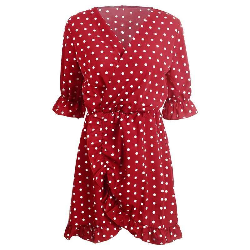 NIBESSER Брендовое летнее женское платье с оборками, винтажное платье в горошек с v-образным вырезом, женское богемное пляжное платье, цветочные женские вечерние платья