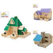 kids toys wooden house puzzles, house scale models, Model Building Kits puzzles Free shipping price of the factory стоимость