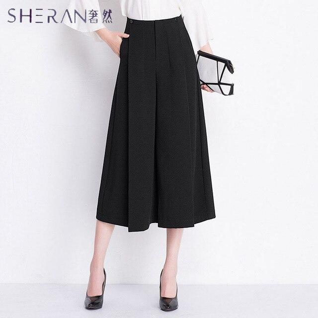 cd683c73dffb 1443.24 руб. 18% СКИДКА|Шеран плюс размер женский чистый черный широкие  брюки ...