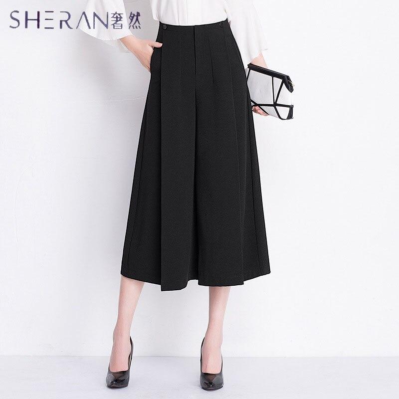SHERAN Plus size Women Pure black Wide Leg Loose Skirt Pants 2018 Spring New Fashion Wild Pants Skirt Trousers Ladies Clothing Price $25.98