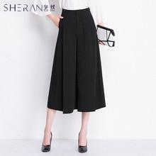 SHERAN Plus size Women Pure black Wide Leg Loose Skirt Pants 2018 Spring New Fashion Wild Trousers Ladies Clothing