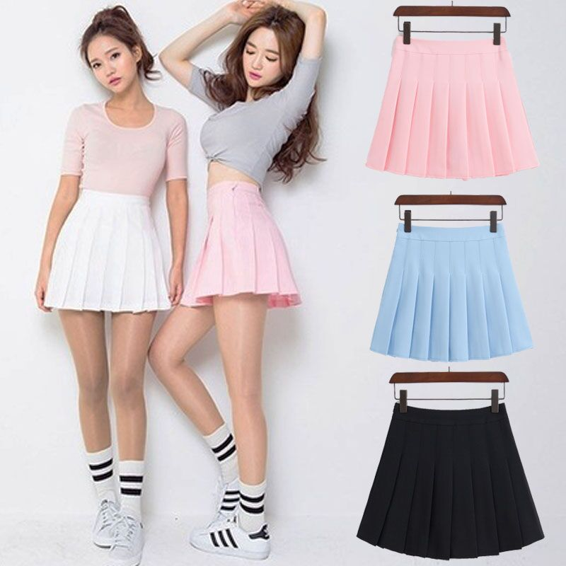 2018 New Spring high waist ball pleated skirts Harajuku Denim Skirts solid a-line sailor skirt Plus Size Japanese school uniform