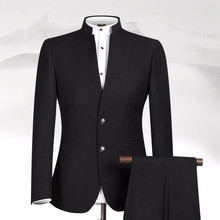 New Design Black Men Suits Stand Collar Classic Suit Business Wear Custom Made Formal Male (jacket+pant)