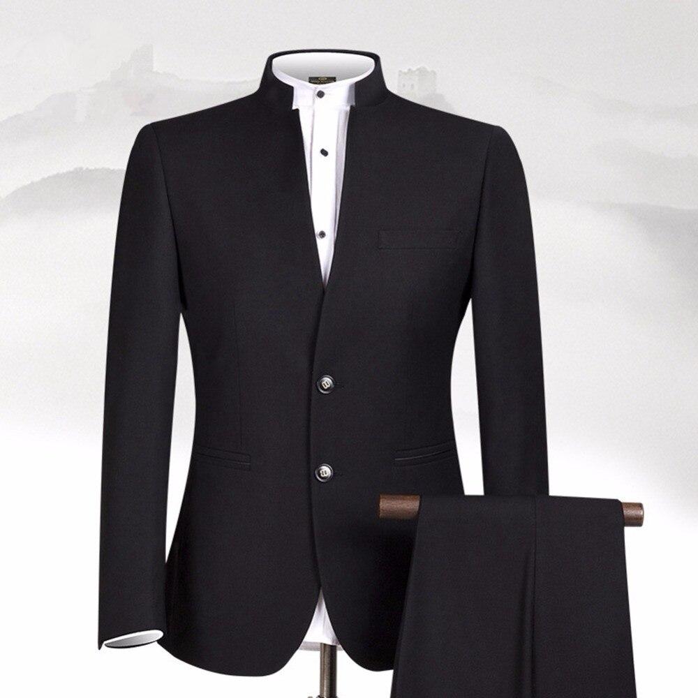 Nouveau Design noir hommes costumes col montant costume classique affaires porter sur mesure costume masculin formel (veste + pantalon)