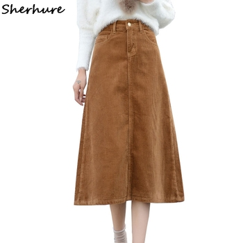 40b4f94cd6 2018 cintura alta Mujer Otoño Invierno falda PANA mujer Falda larga caqui  talla grande 5XL 7XL mujeres Maxi Falda Mujer Faldas Saias