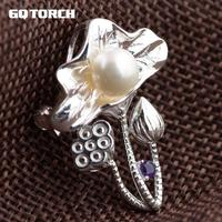 Real Freshwater Pearl Brooch Genuine 925 Sterling Silver Jewelry For Women Lotus Seedpod Design
