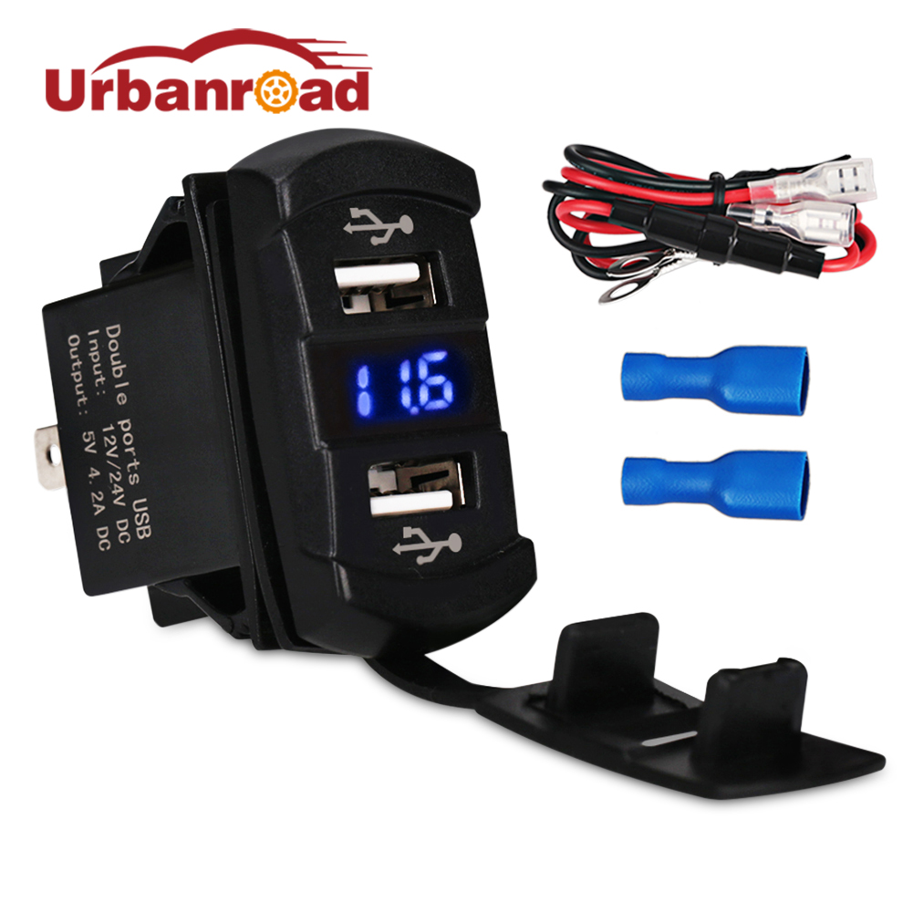 Urbanroad 12v Car Motorcycle Dual USB Charger Voltmeter Socket 4.2A Dual USB Car Cigarette Lighter Power Adapter Voltmeter Meter printio чехол для samsung galaxy s7 объёмная печать