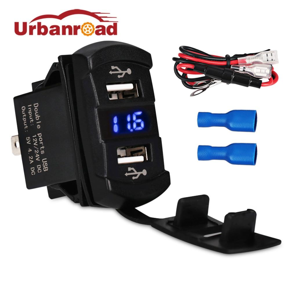 Urbanroad 12v Car Motorcycle Dual USB Charger Voltmeter Socket 4 2A Dual USB Car Cigarette Lighter Power Adapter Voltmeter Meter