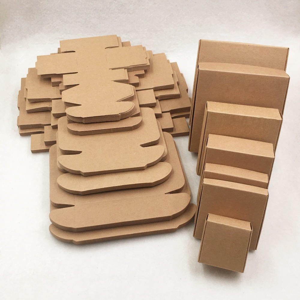 Various Sizes Kraft Paper Packing Gift Boxes, DIY Candy/Wedding/Party/Crafts/Gifts/Candy Storage Boxes  Brown Aircraft Box