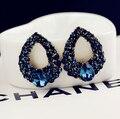 2015 Natural stone black Blue big earrings gold sapphire Angel's Tears Rhinestone Droplets bijou  Brincos Women Accessories E302