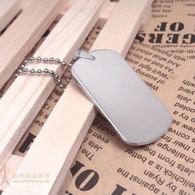 Étiquettes de chien militaire en acier inoxydable | surface du miroir blanc et gravable au laser, pendentifs de 1.8mm LX7445