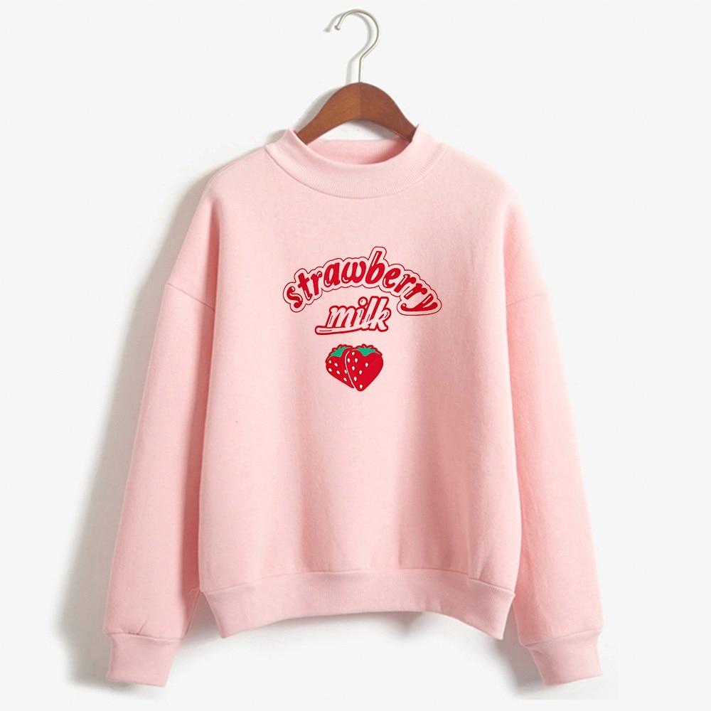 Korea KPOP Strawberry Milk Graphic Sweatshirt Women Tops 2019 Turtleneck Kawaii Clothes Women Loose Slim Sweatshirt And Pullover