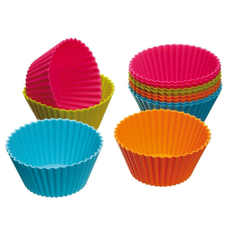 12pcs/set colored silicone Cupcake Cases DIY home kitchen Bar accessory Mufin wrapper case eco friendly drop shipping on sale