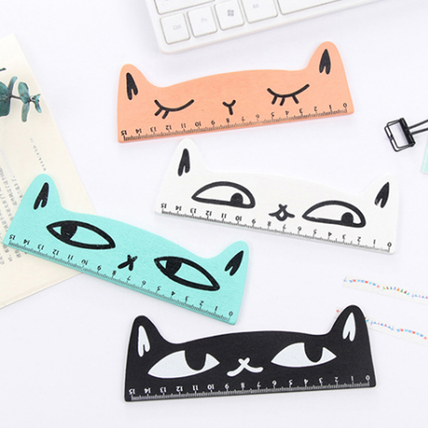 1PC Kawaii Cat Design Ruler Funny Stationery Wooden Rulers Office Accessories School Kids Study Supplies