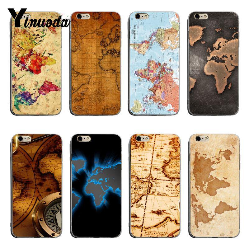 Yinuoda Retro Antique World Map Art Fashion Luxury phone case accessories For iPhone XSMax X XS XR 7 7Plus 8 8plus 6 6s 6plus